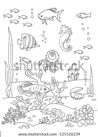 Ocean Bottom Coloring Book Page Doodle Stock Vector