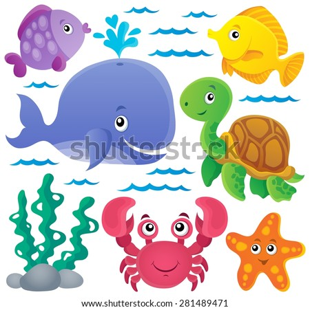 Ocean fauna thematic collection 1 - eps10 vector illustration. - stock vector
