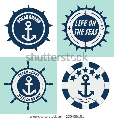 ocean guards label. vector illustration - stock vector