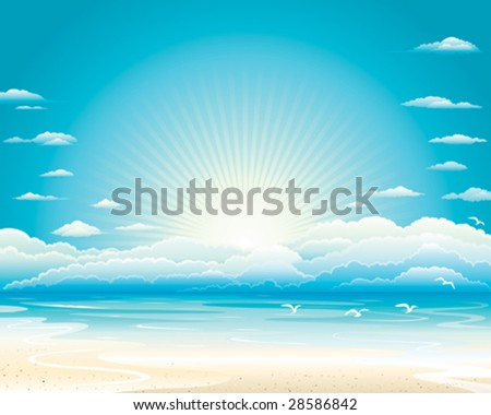 Ocean landscape, Vector illustration layered. - stock vector