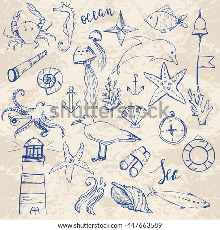 Ocean life and nautical elements. Hand drawn set of elements. - stock vector