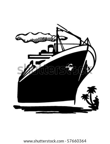 Ocean Liner - Cruise Ship - Retro Clip Art - stock vector