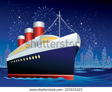 Ocean Liner in Harbor - stock vector
