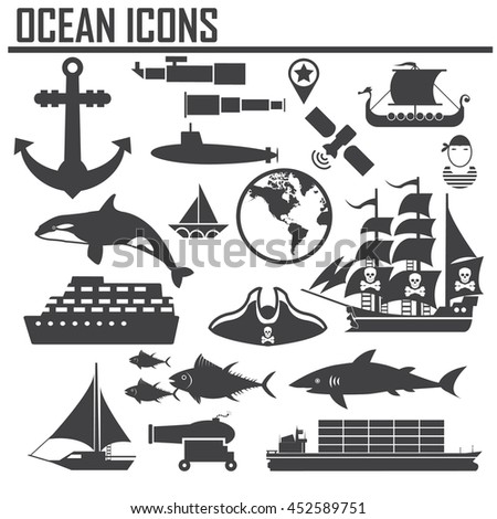 Ocean Nautical and marine icons