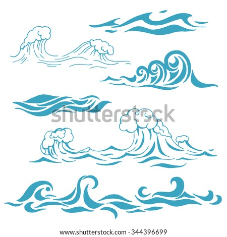 Ocean or sea waves, surf and splashes set curling and breaking in a pretty turquoise blue for marine and nautical themed concepts, decorative vector illustration on white - stock vector