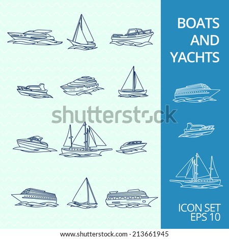 Ocean recreation cruise motor boats and sportive competitive sailing yachts outline sketch icons set isolated vector illustration - stock vector
