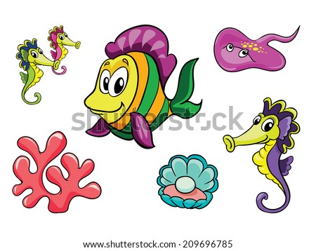 Ocean set, vector illustration on white background - stock vector