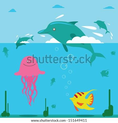 Ocean story - stock vector