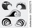 ocean wave contour set - transparent version - stock vector
