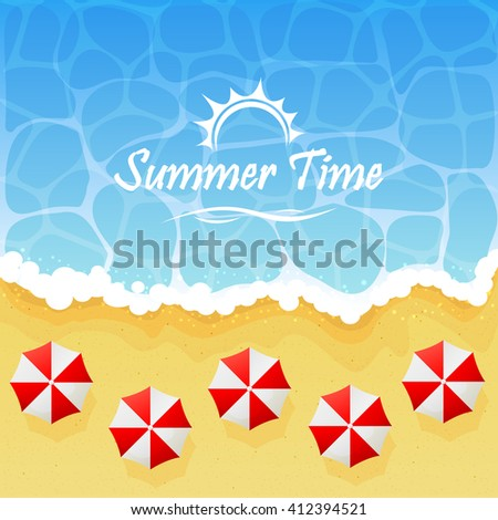 Ocean wave on a sandy beach with umbrellas and inscription Summer time, illustration. - stock vector