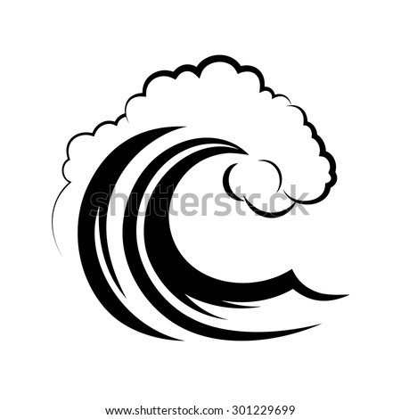 ocean wave on a white background - stock vector
