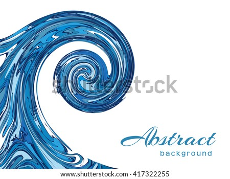 Ocean wave on white background, vector water swirl in marble style - stock vector