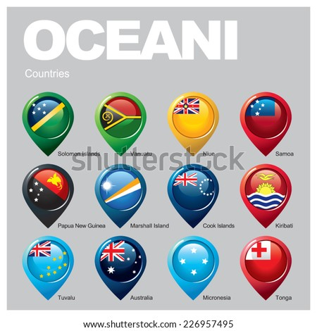 OCEANI Countries - Part Three - stock vector