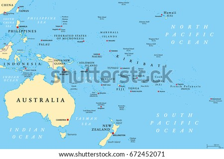 Oceania political map region centered on stock vector 672452071 oceania political map region centered on central pacific ocean islands with melanesia gumiabroncs Image collections