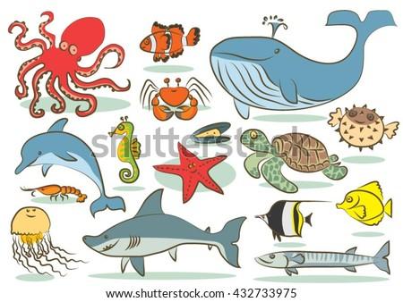 Oceanic animals kids drawings - stock vector