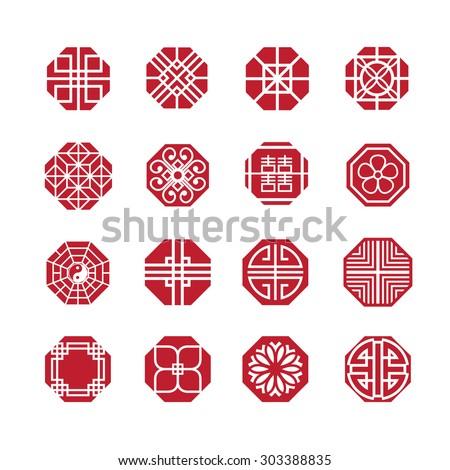Octagon ornament icon, chinese, japanese, korean circle vector set - stock vector
