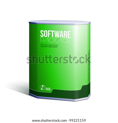 Octagon Plastic Software DVD/CD Disk Package Box Green: EPS10 - stock vector