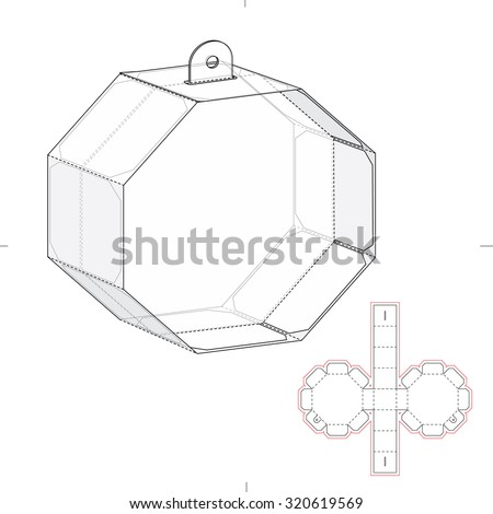 Octagonal Box with Die Line Template - stock vector