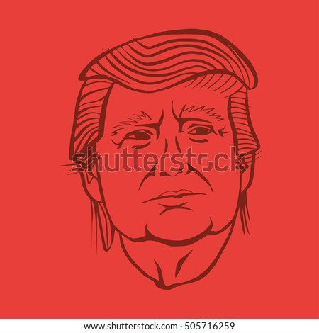 October, 28 2016: A vector illustration showing  Republican presidential candidate Donald Trump in hand draw style