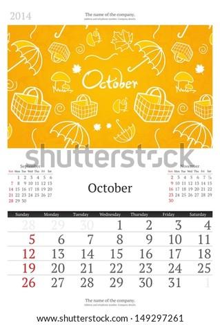 October. 2014 Calendar.  - stock vector