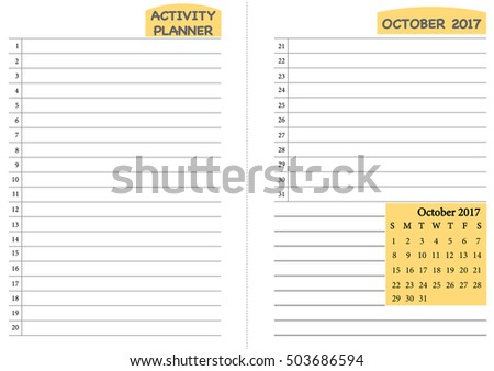 October 2017 Calendar Template Monthly Planner Stock Vector