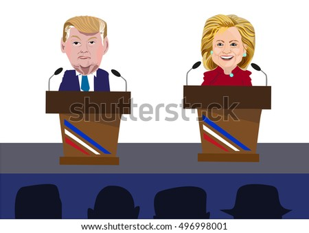 October 12, 2016: Donald Trump and Hillary Clinton Caricatures onstage speaking or debating. Exaggerated Caricature portrait art style.