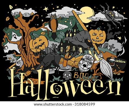 October 31 , Doodle drawn on Halloween invitation flyer - stock vector