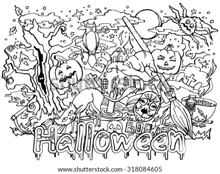 October 31 , Doodle drawn on Halloween, invitation flyer - stock vector