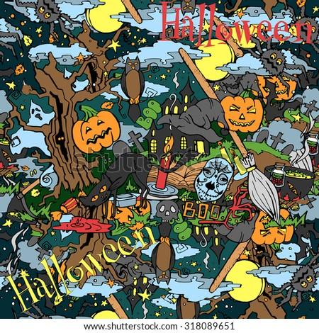 October 31, Doodle on Halloween, seamless texture - stock vector