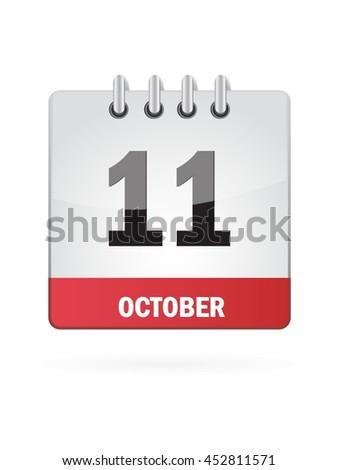 October Eleven. Calendar Icon - stock vector