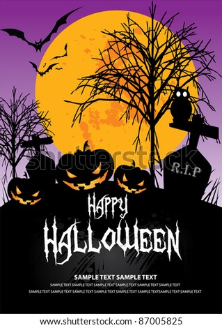 October 31 Halloween is a holiday of the year has to dress as a ghost, the carved lantern Jack - o '- bonfires, telling scary stories and watching horror movies. - stock vector