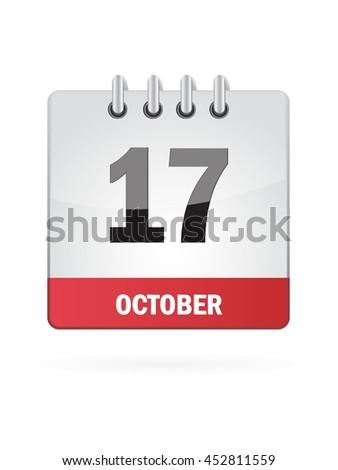 October Seventeen. Calendar Icon - stock vector