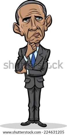 OCTOBER 20, 2014: vector illustration of president Barack Obama standing frustrated - stock vector