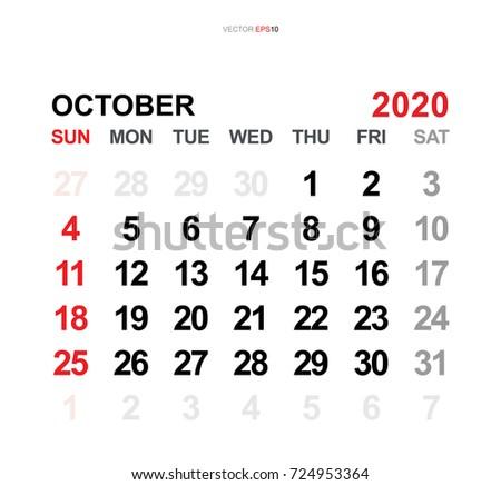 October 2020 Vector Monthly Calendar Template Stock Vector Hd