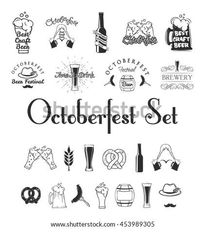 Octoberfest beer festival set. Vector illustration. Beer bottle and glasses. Octoberfest festival. Brewery Bavaria. - stock vector