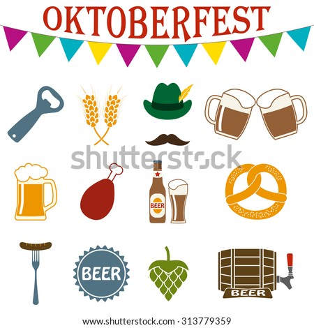 Octoberfest icon set. German food and beer symbols isolated on white background. Oktoberfest beer festival design elements. Colorful vector illustration.  - stock vector