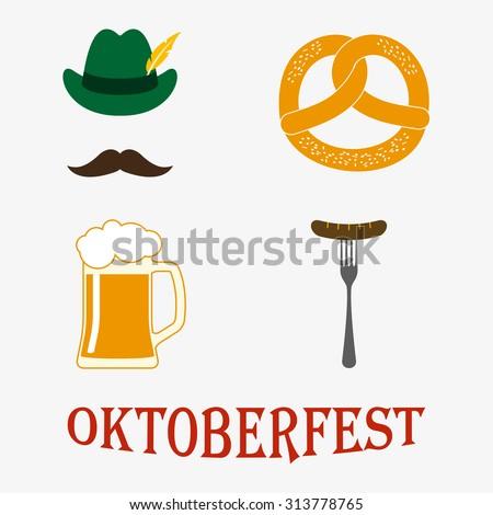 Octoberfest icon set: petzel, beer stein, sausage, hat. Oktoberfest beer festival design elements. Colorful vector illustration.  - stock vector