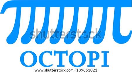 Octopi, Pi Octopus, Math Funny  - stock vector