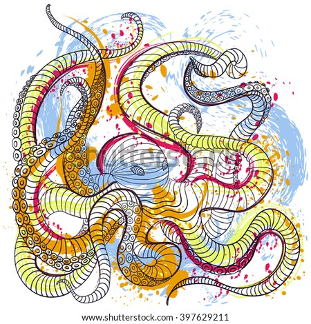 Octopus. Colorful hand drawn vector illustration in watercolor style art. Vintage design concept for banner, card, scrap booking, t-shirt, print, poster - stock vector