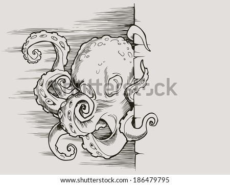 Octopus drawn in vintage retro style - stock vector