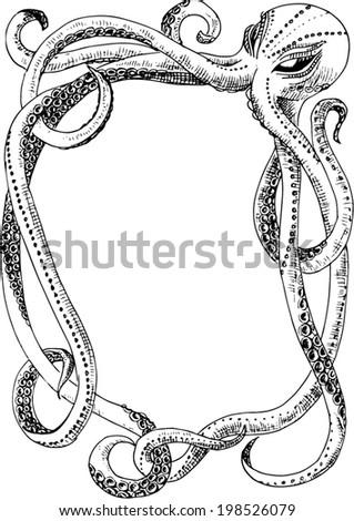 Vintage Kraken Illustration Octopus frame. Vector ...