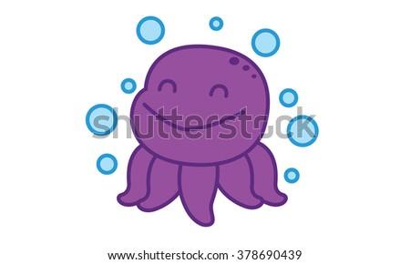 Octopus Happy - stock vector