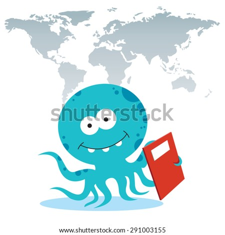 Octopus holding a report book.  Octopus holding a success report book with world map background. - stock vector