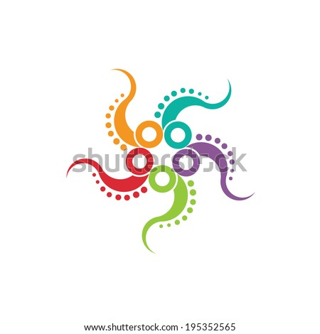 Octopus image. Concept of multitasking a stylized octopus in a nice color scheme. Vector icon - stock vector