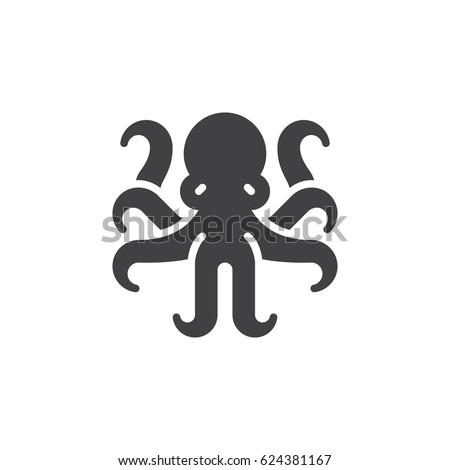 Octopus Mollusk Icon Vector Filled Flat Stock Vector ...  Octopus Symbol