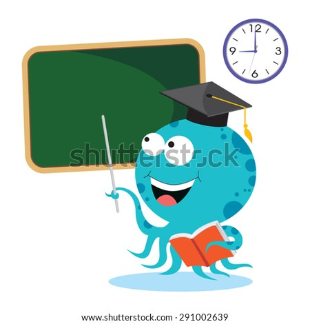 Octopus on lesson - stock vector