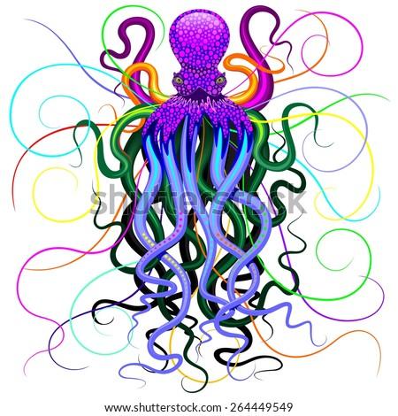 Octopus Psychedelic - stock vector