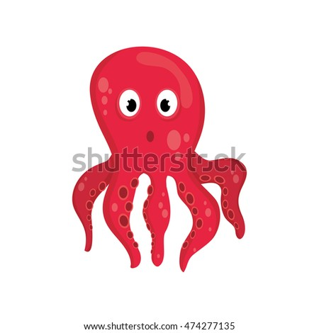 octopus sea life animal cartoon icon. Isolated and flat illustration. Vector graphic