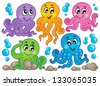 Octopus theme collection 1 - eps10 vector illustration. - stock vector