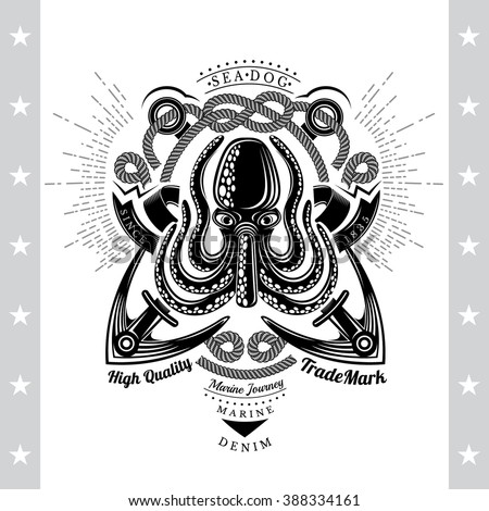 Octopus with Cross Anchors and Rope Behind. Sea Vintage Black Label Isolated On White - stock vector